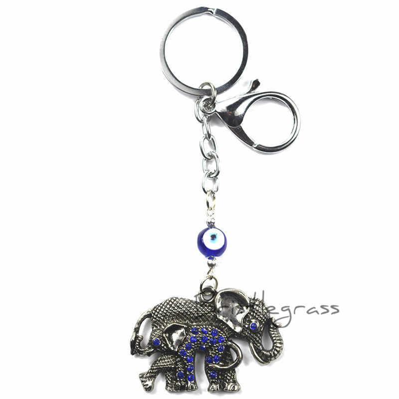 BRISTLEGRASS Thổ Nhĩ Kỳ Xanh Evil Eye Rhinestone Voi Keychain Key Chain Vòng Chủ Bùa Hộ Mệnh Bùa May Mắn Phước Lành Mặt Dây Chuyền Quà Tặng