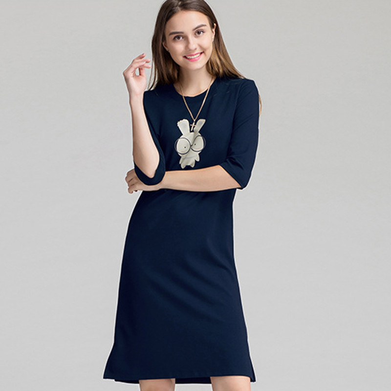 Women Casual Night Dress Sleepwear Built in Bra Padded 1/3 Sleeve Cartoon Print Nightgown Lounge Dress Female Sleeping Dresses