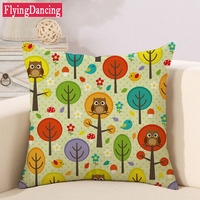 Lovely Owl Tree Cartoon Pattern Linen Colorful Cushion Modern Warmth Home Decorative Art Throw Pillow On