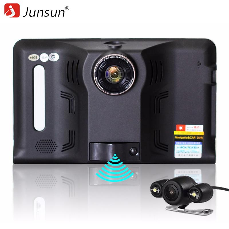 Prix pour Junsun 7 pouce voiture gps navigation android détecteur de radar dvr 16 gb avec caméra arrière de camion véhicule gps navigator navitel