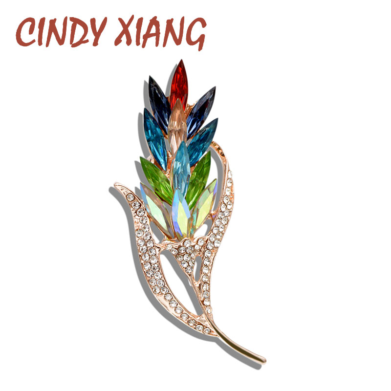 d548b158d1a CINDY XIANG Multi-color Crystal Wheat Brooches for Women Rhinestone Brooch  Pin Fashion Jewelry Coat Dress Corsage Flower Style