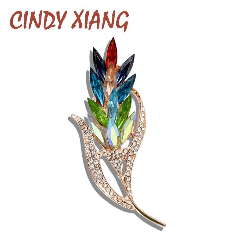 Modestil Cindy Xiang Vintage Mode Strass Blatt Broschen Für Frauen Große Winter Corsage Pin Pullover Hohe Qualität Zubehör Geschenk Schmuck & Zubehör