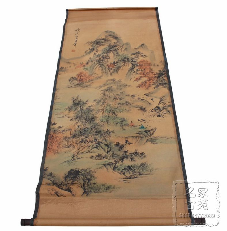 Antique Chinese Scrolls: Antique Painting Traditional Chinese Scroll Painting,old