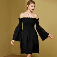 Jungle Me Ruffles Off Shoulder Women Black Dress Sexy Dresses Peplum A Line Slim Fleabane Elegant