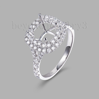 Engagement Diamond Rings With Real Platinum Semi Mount Ring Settings Hold Cushion 7mm 0.83ct Diamond Jewelry SR00232