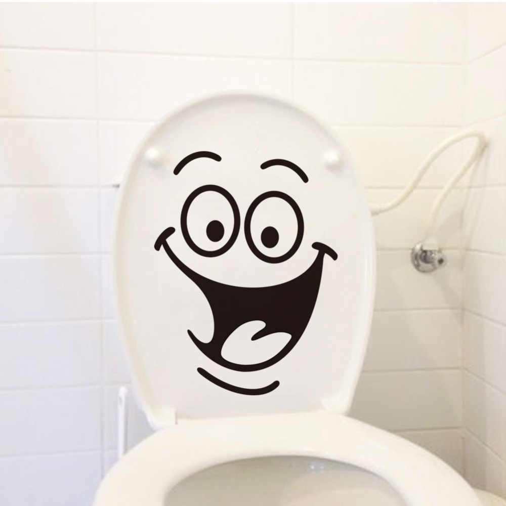 Smile Funny Bathroom Wall Stickers Toilet Home Decoration Waterproof Wall Decals For Toilet Sticker Decorative Poster Home Decor
