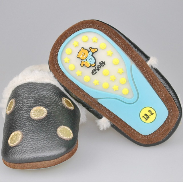 Fashion Genuine Leather Baby Moccasins gold Polka Dot Warm Winter Baby Boy Black Shoes Anti-Slip Hard Sole Toddler Shoes