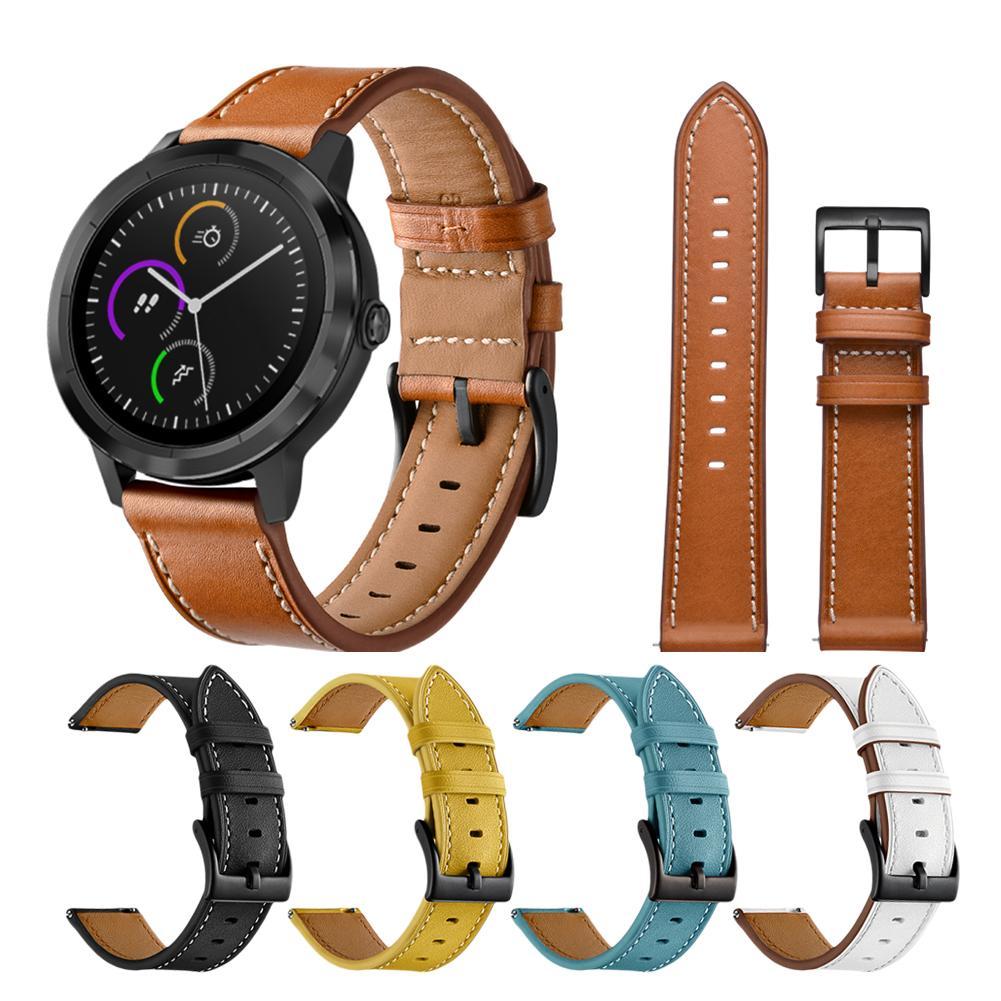 20mm Genuine Leather Strap For Garmin Vivoactive 3/Vivomove HRWatch Active Watch Band Strap