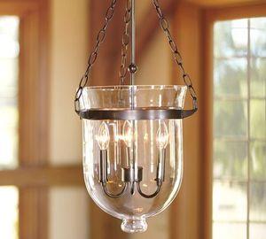 Image 1 - American Country lámpara colgante con forma de vestíbulo de cristal transparente, Color negro/óxido, Decoración Retro Para comedor, D250 MM/350MM