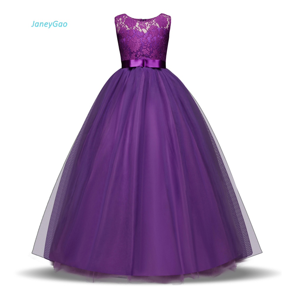 d038ea17a JaneyGao flor chica vestidos para fiesta de boda largo estilo adolescente chica  vestido Primera Comunión vestidos púrpura blanco caliente