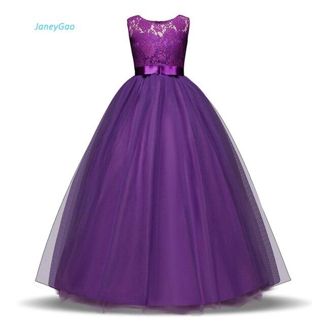 JaneyGao robes de fille à fleurs pour la fête de mariage longue Style adolescente robe première Communion Pageant robes blanc violet chaude