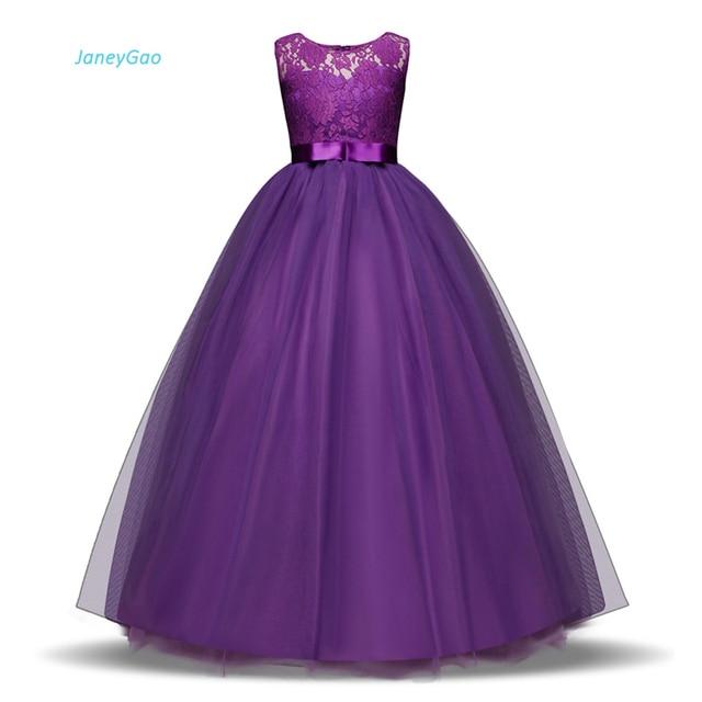 JaneyGao פרח ילדה שמלות לחתונה מסיבת ארוך סגנון נערה שמלת ראשית הקודש תחרות שמלות לבן סגול חם