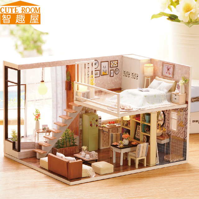 Assemble DIY Doll House Toy Wooden Miniatura Doll Houses Miniature Dollhouse toys With Furniture LED Lights Birthday Gift L020 1