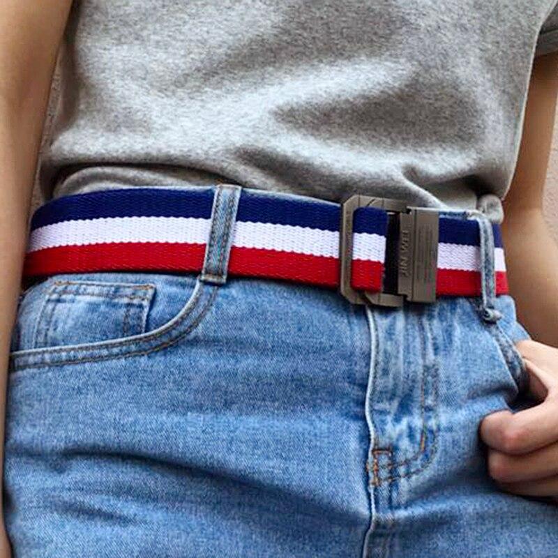 Hola guoguo cinturón de lona de las mujeres/los hombres colorido Arco Iris negro doble hebilla de cinturón de tiempo/nylon/vaquero/cinturón mujer 2018 cinturones para las mujeres