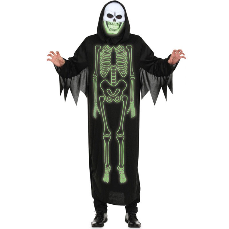 Adult Men Women Halloween Scary Glowing-In-Dark Skeleton Demon Costume Ghost Grim Reaper Cosplay Morphsuit Gown Dress Unisex