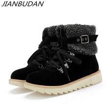 купить JIANBUDAN belt buckle Winter women's snow boots High quality suede plush warm ankle boots Lace-Up Winter cotton shoes Size 34-43 дешево