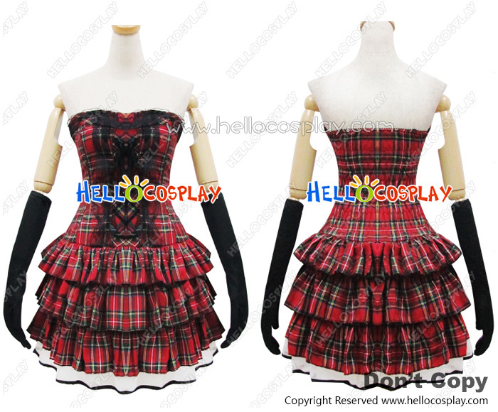 Angel Feather Lolita Scottish Red Plaid Dress Costume Cosplay Outfit H008