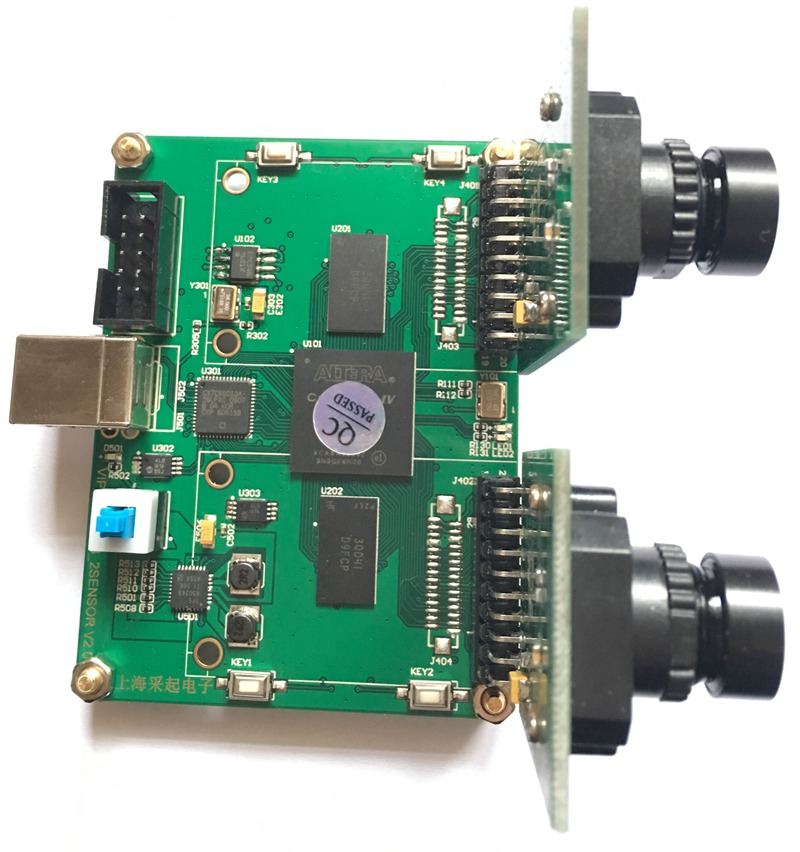 USB binocular camera acquisition FPGA development board 1 million 300 thousand black and ...