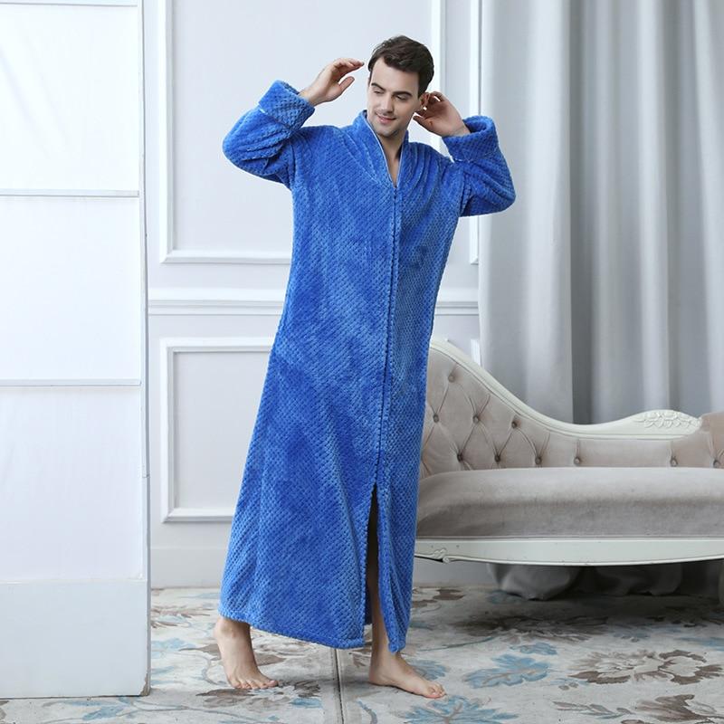 2019 Long Style Male Flannel Kimono Robe Gown Winter Warm Sleepwear ... 95248265a