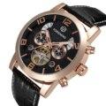 Forsining  золотые  ободки  Tourbillion  год  дисплей  натуральная кожа  мужские часы  лучший бренд  роскошные  с автоподзаводом  автоматические часы