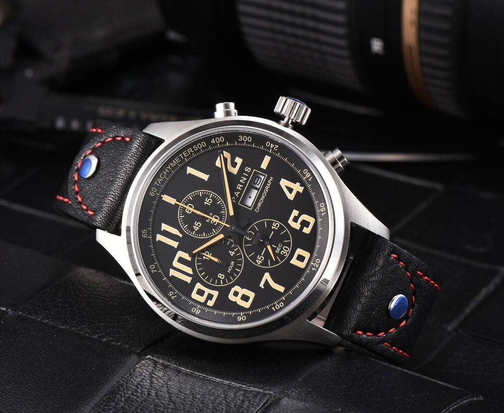 Новые 43 мм Parnis бренд кварцевые часы для мужчин три маленький циферблат хронограф неделя календари кожа кварцевые пилот Военная униформа