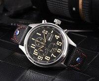Newest 43mm Parnis Brand Quartz Watch Men Three Small Dial Chronograph Week Calendar Leather Quartz Pilot