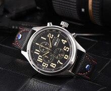 Mais recente 43mm Parnis Homens Relógio Marca de Quartzo Três Pequeno Mostrador Cronógrafo Semana Calendário de Quartzo de Couro dos homens Piloto Militar relógios