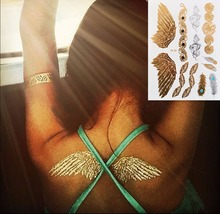 #326 Boho Style Angle Wing Temporary Metallic Tattoo, Gold Body Paint Sexy Women Tattoo Stickers