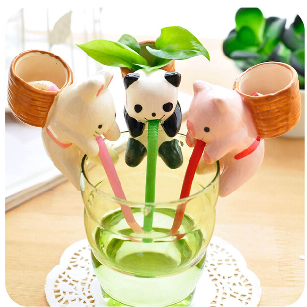 1Pc Potted Plants Indoor Office Home Garden Self Watering Flowerpot Cute Animal Pot With Straw Household Supplies Decorations