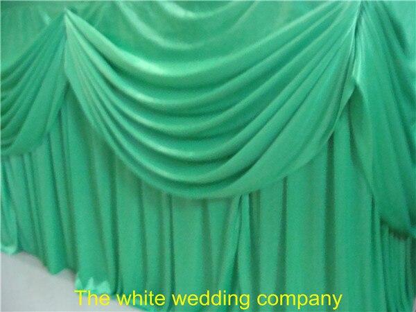 5 pièces 14ft Vert Pomme Glace Soie Jupe de Table Avec Swag Pour Événement De Fête De Mariage Décoration De Banquet Livraison Gratuite