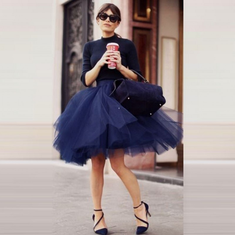 Fashion Dark Navy Tulle Skirts For Pretty Lady Puffy Tutu Skirt Knee Length Custom Made High End Women In From Womens Clothing
