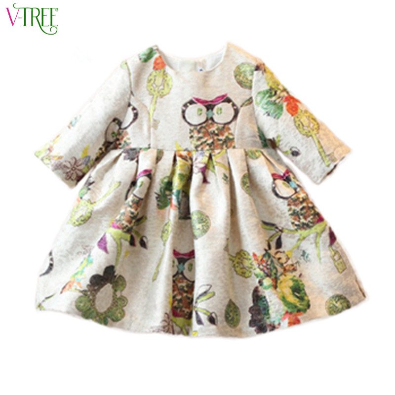 Fashion spring girl dress cute owl princess party dresses for girls clothing fancy dress for children flower clothes outwear 2-8 2017 new fashion dress cute girls long sleeve dress spring autumn princess wedding party fancy children clothing 3 8 years