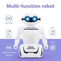 Simulation Robot Electric Robot Saving Robot Table Lamp Robot LED White Music Table Lamp Educational Piggy Bank Novelty