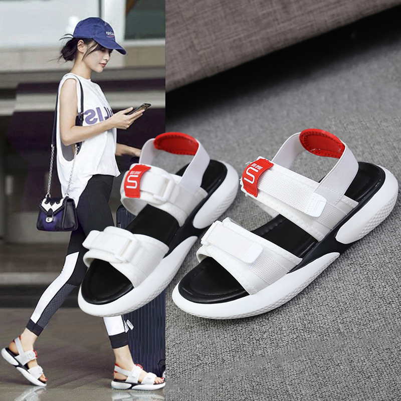 Summer 2018 new flat sandals female students wild magic stickers casual shoes. 57