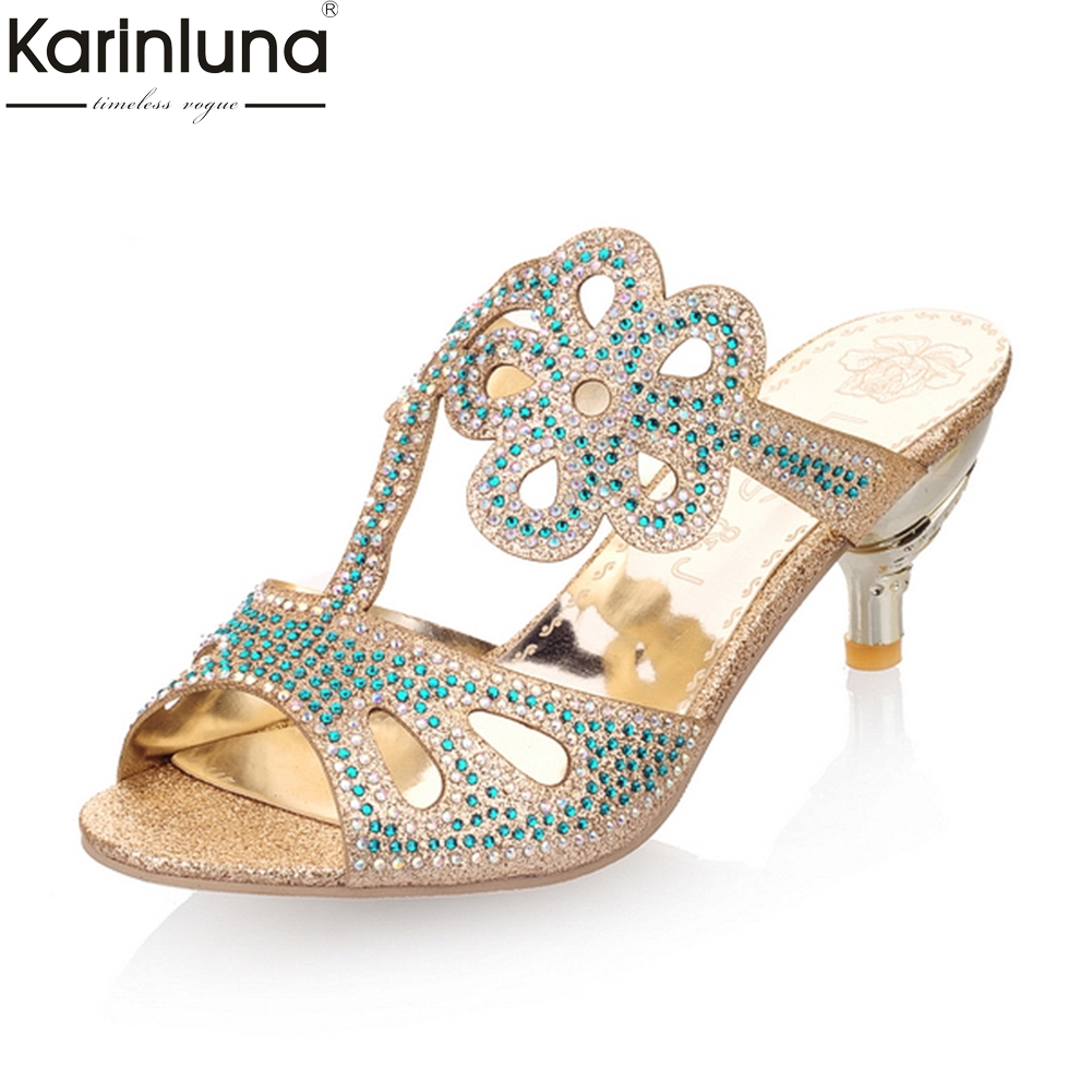 Karinluna Fashion Small Large Sizes 31-43 Summer Slippers Woman Beautiful Flowers Crystals High Heels womens Party Shoes Slides