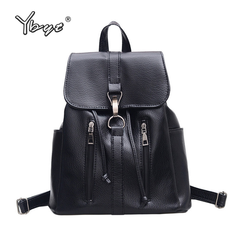 YBYT brand 2018 new fashion preppy style zipper women backpack hotsale ladies washed leather black bag student school backpacks 3 28 sale price 2016 new designer brand fashion black genuine leather women s backpacks preppy style women backpack bolsas mochi