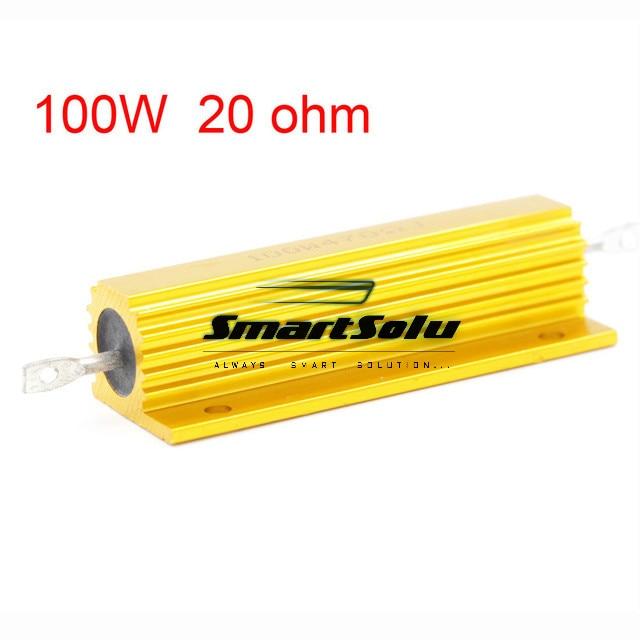 20 ohm 100W Watt Power Metal Shell Case Gold Resistor 100w 300 ohm 5% aluminum screw tabs resistor gold tone