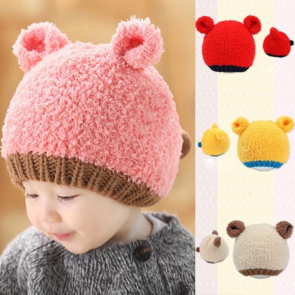 Infants Newborn Baby Winter Hat Girls Boys Knitted Woolen Beanie Caps Ear  Bear Hats-in Hats   Caps from Mother   Kids on Aliexpress.com  fb3e522c6c3