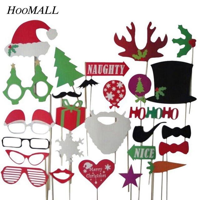 Hoomall 27PCs Christmas Ornaments Booth Props Photobooth Favor Funny Glasses Mustache Navidad New Year Birthday Party