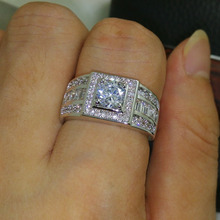 Celebrity design Rhythmic Harmony Men 10KT White Gold Filled Stone 5A Zircon stone Wedding Ring Sz 7-13 free shipping