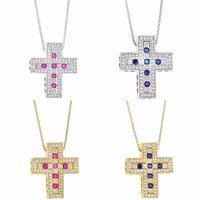 Slovecabin 2018 Authentic 925 Sterling Silver Cross Necklaces & Pendant For Women Bijoux Luxury Collier Femme Silver 925 Jewelry