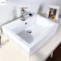 Bathroom Porcelain Ceramic Vessel Sink White Square Basin Bowl 410x410x150mm Modern Rectanglar Artistic Wash Basin