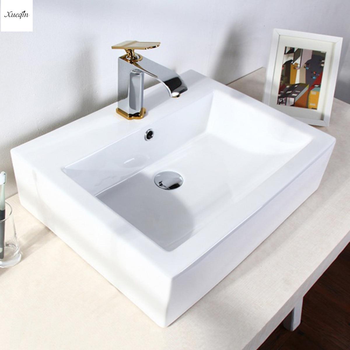 Salle de bains En Porcelaine Lavabo En Céramique Blanc Bassin Carré Bol 410x410x150mm Moderne Rectangulaire Lavabo Artistique