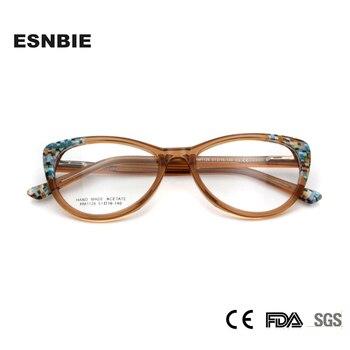 e3485b1ddb Montura de gafas ópticas de ojo de gato de acetato esnae para mujer montura  de gafas de mariposa de moda