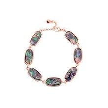 ZWPON New Geometric Silver Link Oval Abalone Shell Bracelets 2019 Summer Fashion Brand Designer KS Acrylie