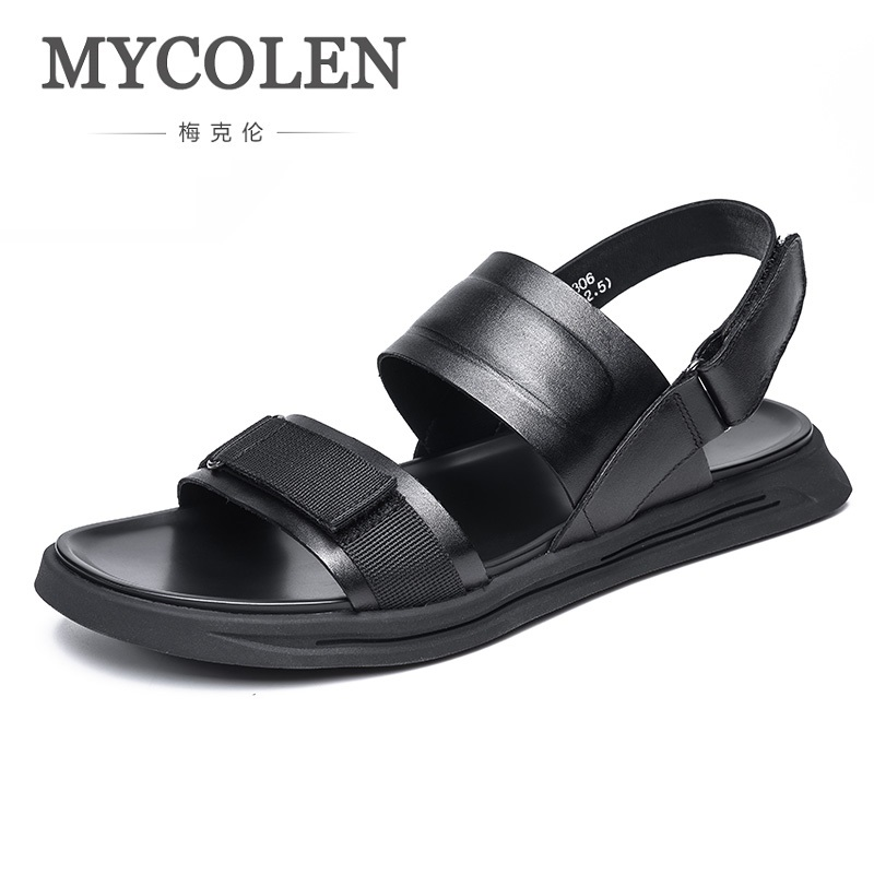 MYCOLEN Men's Sandals Summer Beach Breathable Minimalist Design Men Shoes Top Quality Black Sandals Genuine Leather Sandalias