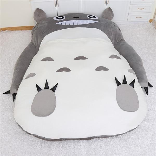 1.7x2.2m My Neighbor Totoro Tatami Sleeping Double Bed Big&Large Beanbag Sofa For Audlt Warm Cartoon Totoro Tatami Mattress fancytrader soft huge funny pikachu beanbag with sleeping bag bed carpet tatami mattress sofa ft90267