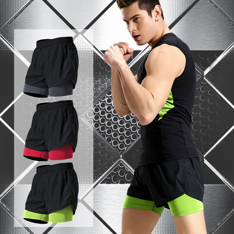 Men Fake Two Running Shorts Men Basketball Gym Sport Short Pants Athletic Tennis Volleyball Crossfit Trianing Fitness Clothing