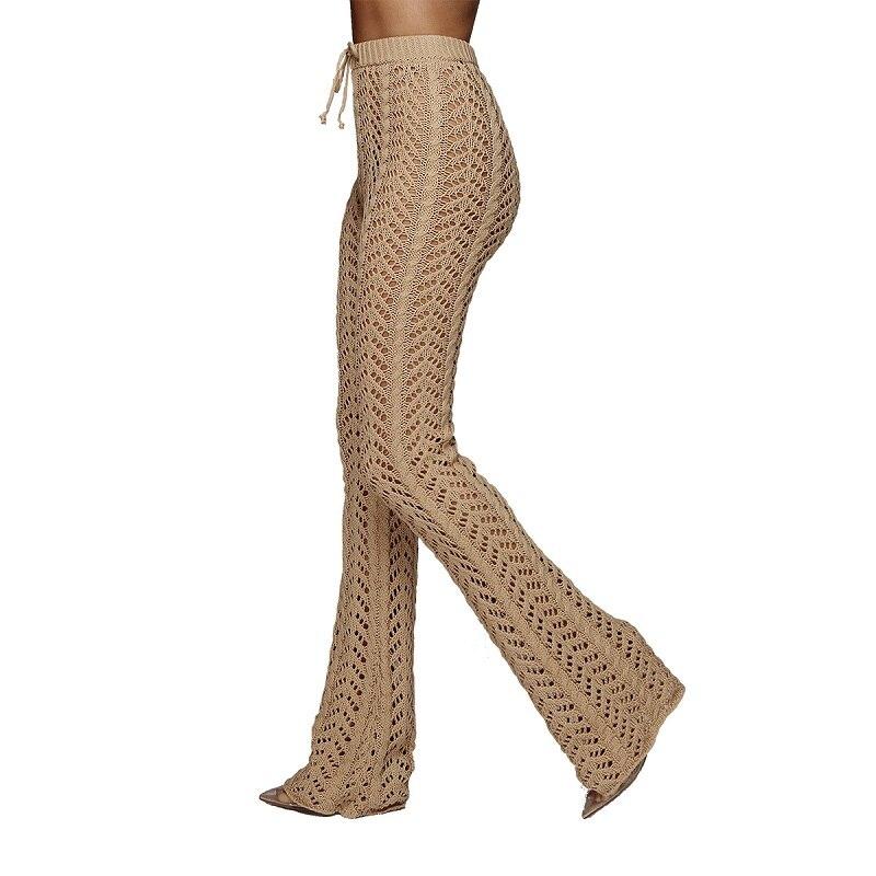 cea7bab58738 IASKY Crochet Bikini Cover Up Pants 2018 Women hollow out Long Beach Pants  Trousers Swimsuit Bathing suit cover ups Beachwear-in Cover-Ups from Sports  ...