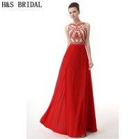 H & S הכלה קריסטל תכשיט שמלות ערב ארוך 2017 שיפון Sheer צוואר סקסי אחורי אדום ערב המפלגה שמלת נשף שמלה אלגנטי